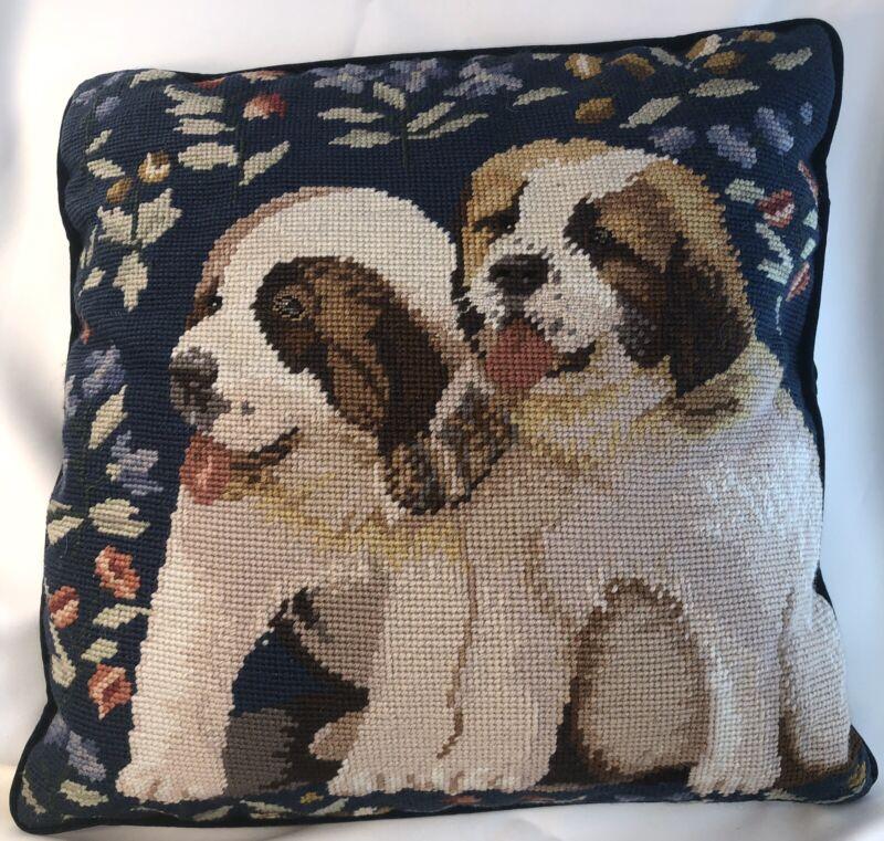 "Beautiful Saint Bernard Puppies Needlepoint w/Pillow CUTE 15"" Square"