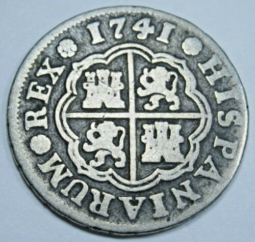 1741 Spanish Silver 1 Reales Antique 1700s Colonial Cross Pirate Treasure Coin