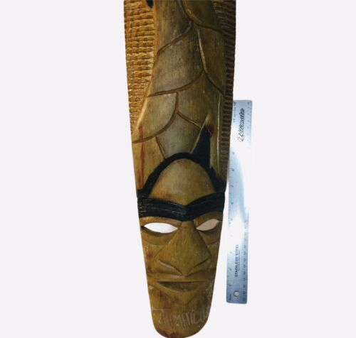 Carved Wood Jamaican Mask Man Face Giraffe Wall Hanging Tiki Decor 29 Signed - $22.99