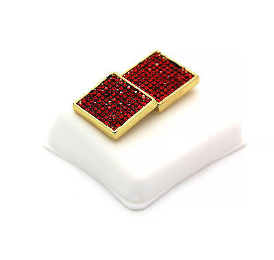 Mens 14K Gold Plated Red Cz Square Earrings 10 Row Micro Pave Hip-Hop ~ Red Mens Earring