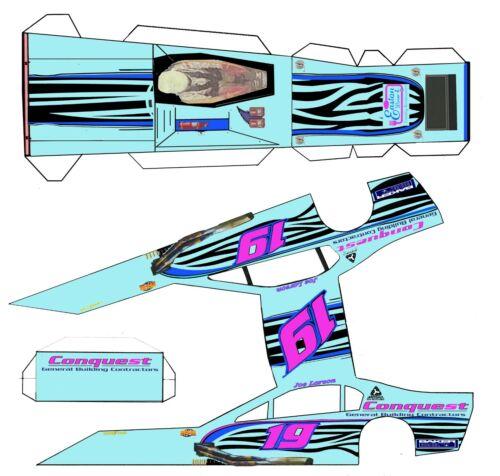 "#19 Conquest   Asphalt Modified Laminated Body Slot Car 4"" 1/24th"
