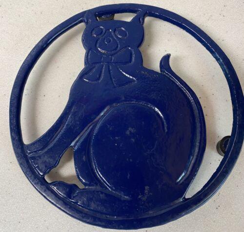 COBALT BLUE Cat Trivet Cast Iron Collectible Kitchenware - $8.50