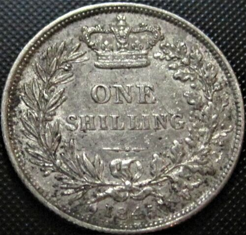 1845 UK Great Britain One Shilling  KM#734.1 -  Silver Coin