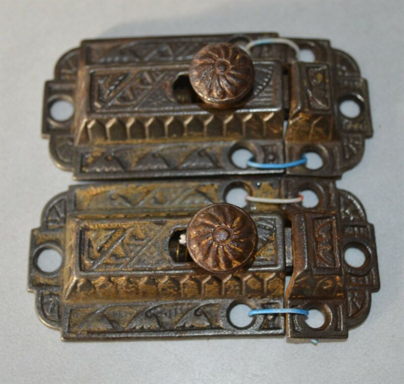 2 Matching Antique Cast iron cupboard cabinet latch sets East Lake Design