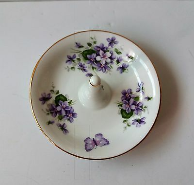 Aynsley Trinket Ring Dish ~ Wild Violets Bone China Made in England