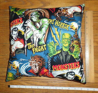 New  CLASSIC MOVIE MONSTERS Small Cotton Fabric Pillow  - Handmade in the USA](Monster Pillows)