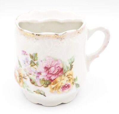 (Antique/Vintage Mustache Cup Porcelain Hand Painted Floral With Gold Gilding. )
