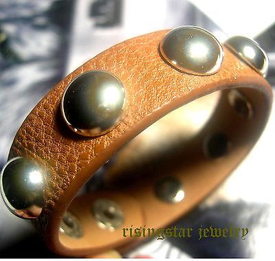 Mens Trendy Metal Studs New Age Surfer Hip Hop Leather Bracelet Wristband