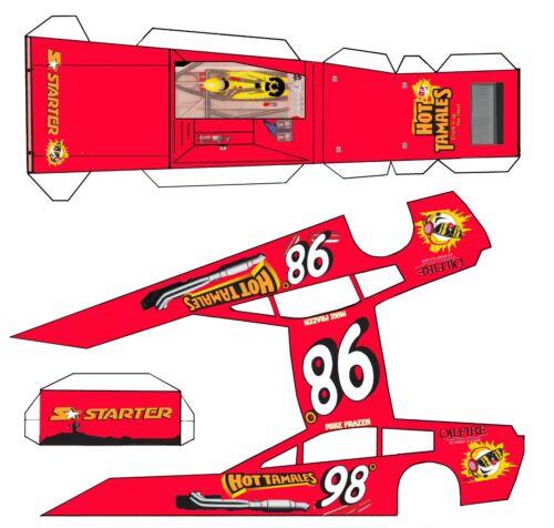 "#98 Hot Tamales  Asphalt Modified Laminated Body Slot Car 4"" 1/24th"