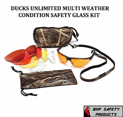 PYRAMEX DUCKS UNLIMITED HUNTING/SHOOTING SAFETY GLASSES CHANGEABLE LENSES & (Hunts Glass)