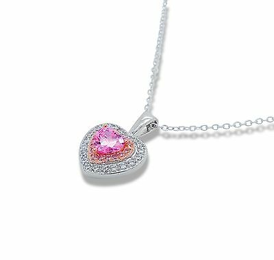Heart Cut Pink Necklace 925 Sterling Silver Corazon Pendant CZ Collar Plata USA