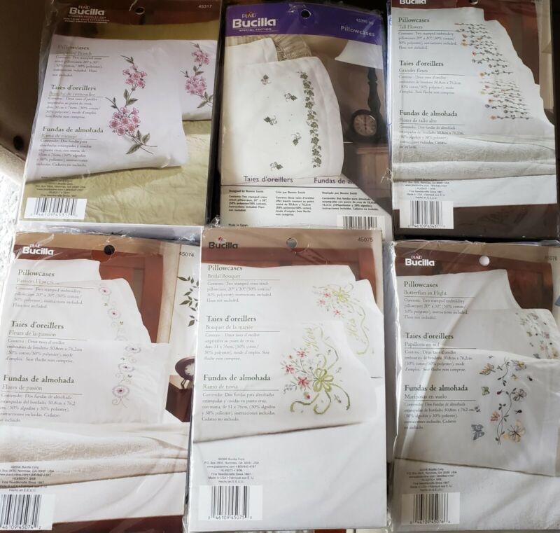 Bucilla, Tobin & Janlynn Stamped Embroidery Pillowcase Sets Choice