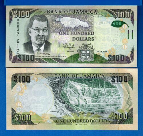 Jamaica P-95c 100 Dollars Year 2016 Waterfalls Uncirculated Banknote