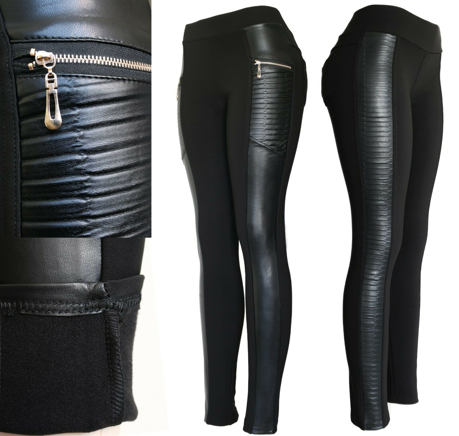 Winter Biker Faux Leather Fleece Lined Pants Clothing, Shoes & Accessories