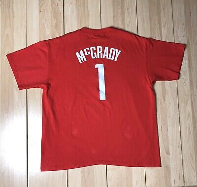 Vintage NBA Houston Rockets MCGRADY Basketball T-Shirt Men's XL Red Short Sleeve Adidas Houston Rockets Short Sleeve T-shirt