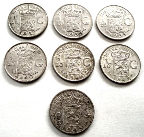 NETHERLANDS EAST INDIES 7 x 1/10 GULDEN 1937-1945 Silver. OO2.4