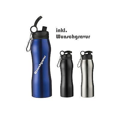 Edelstahl Trinkflasche mit Gravur Isolierflasche  Wandern Camping  Outdoor