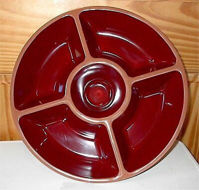 MELAMINE CHIP & DIP BOWL--DARK RED & TAN--BRAND NEW IN ORIGINAL PLASTIC WRAP