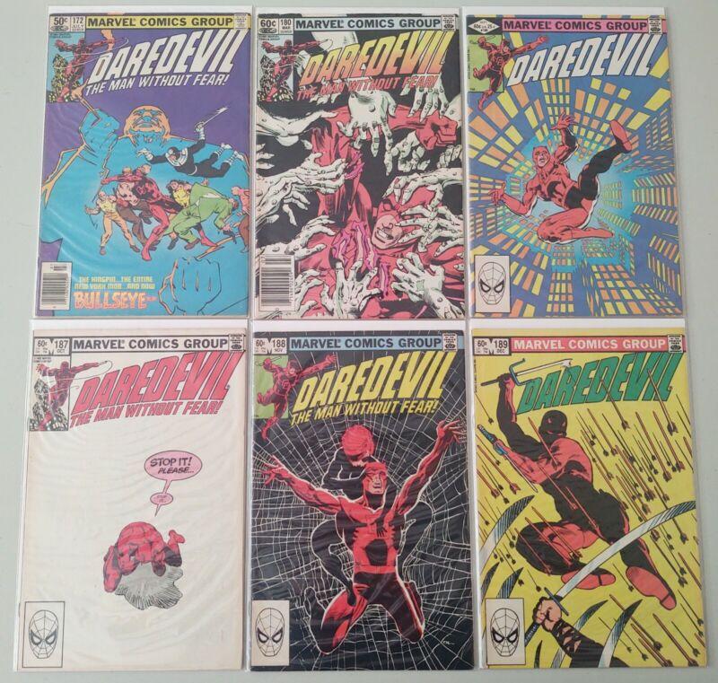 Daredevil 172 180 186 187 188 189 1981-1982 Marvel Comics