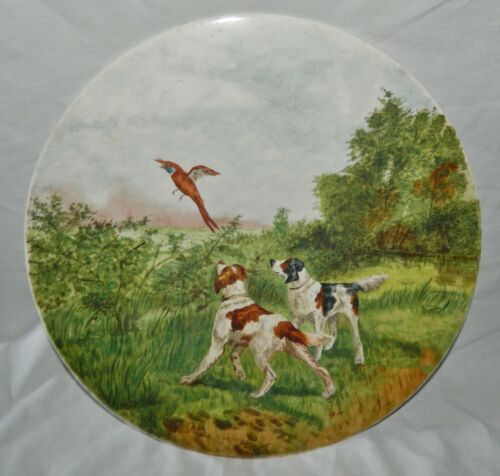 """Antique 1904 LARGE 17"""" Porcelain Charger Hand Painted SPANIEL Hunting Bird DOGS"""