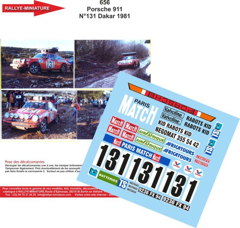 DECALS 1//43 REF 0786 PORSCHE 911 LIAUTAUD RALLYE PARIS DAKAR 1986 RALLY