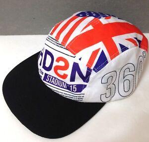 HUDSON OUTERWEAR FIVE 5 PANEL HAT White Purple Orange American&British Flag HDSN