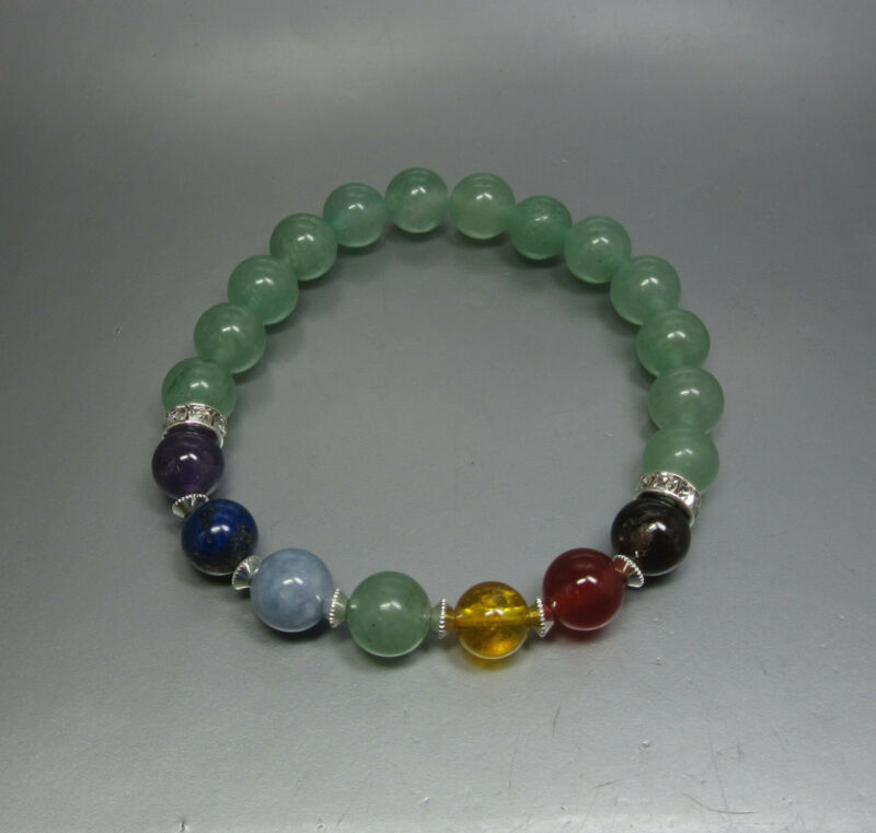 Aventurine 7 Chakra Bracelet - Stretch - Crystal Healing - Fast Free US Shipping
