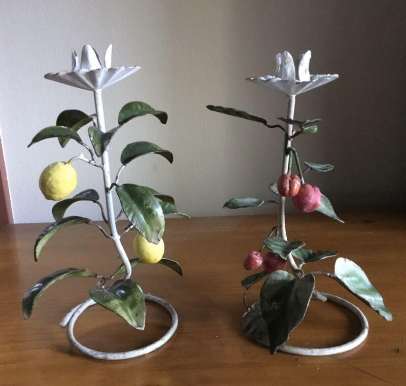 Pair Vintage Tole Toleware Candle Sticks Fruit Cherry Lemon Shabby Chic LOOK