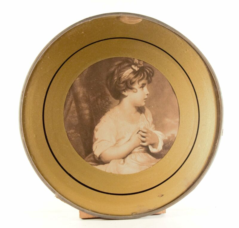 """Antique 9.5"""" Flue Cover Black & White """"Young Girl"""" Glass With Metal Frame"""