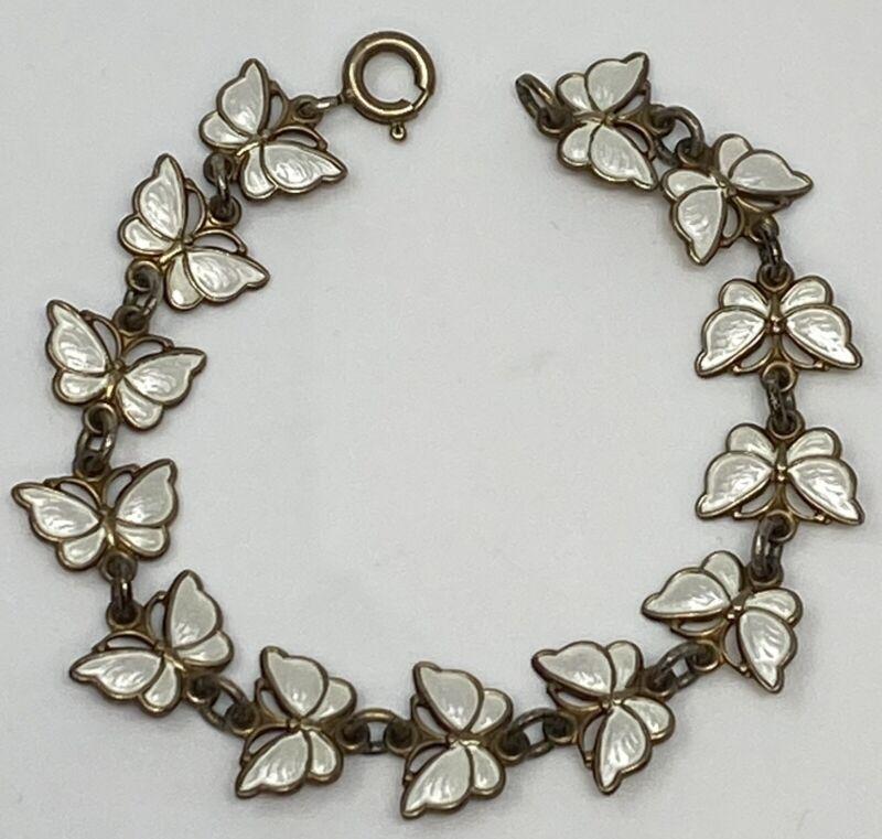 "Volmer Bahner VB Denmark Sterling Silver White Butterfly Bracelet Vintage 6"""