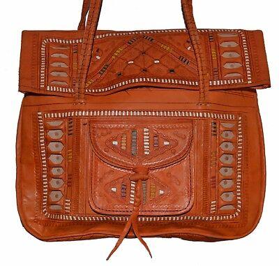 Leather Carving Designs (Moroccan Leather Shoulder Bag Handbag Purse Carved Tooled Strap Design Orange )