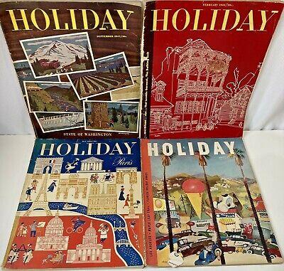 Vtg HOLIDAY Magazine Travel Fashion Old Advertisement Ads Paper Ephemera 40s 50s