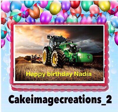 John Deere Farm Tractor Birthday Edible Topper Cake Image Frosting 1/4