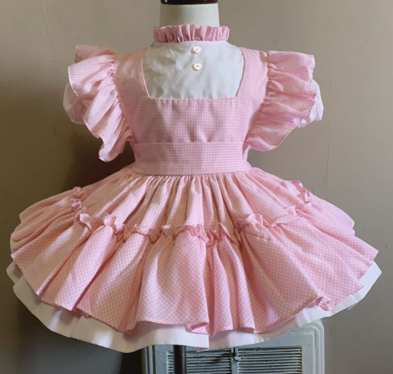 Vintage marthas miniatures girls pink and white plaid dress