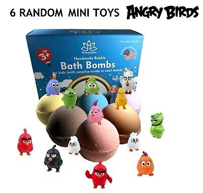 6 Bath Bombs with Angry Birds Toys Inside for Kids – Natural & Safe Fizzies ()