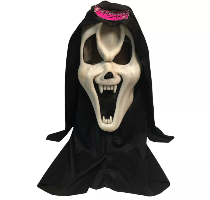 Ghost Face Glow In The Dark 1997 SCREAM Mask 9206 Fun World Easter Unlimited Tag