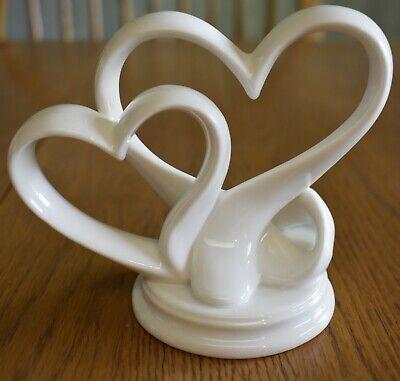 Ceramic Double Heart Wedding Celebration Cake Top Topper  Double Heart Wedding Cake Top
