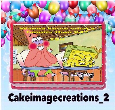 Spongebob What's Funnier Than 24 Edible Frosting Image Cake Topper  1/4 - Spongebob 24