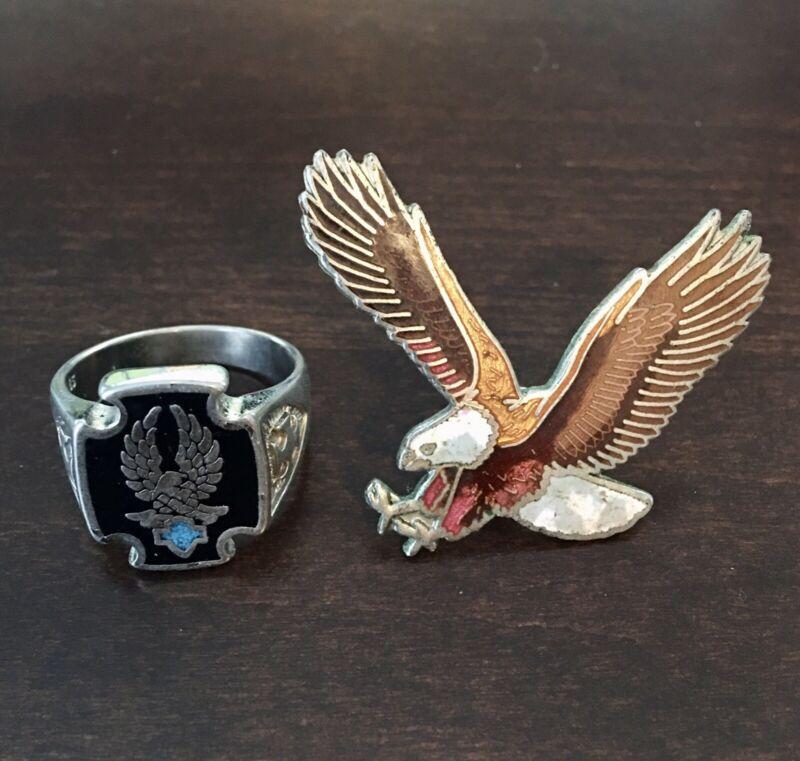 Vintage Harley Davidson Biker Ring And Eagle Pin