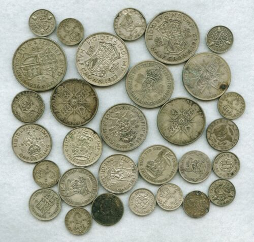 COLLECTION LOT OF 30 SILVER COINS FROM GREAT BRITAIN 1920 - 1942