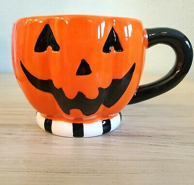 Halloween Ceramic Jack o Lantern Coffee Or Tea Mug Dennis East Design EUC