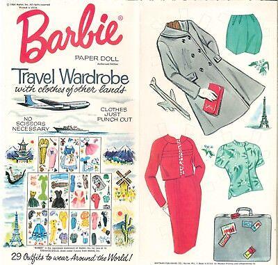 VINTAGE 1964 BARBIE TRAVELS PAPER DOLLS ~ RARE PRETTY~ UNCUT LASER REPRODUCTION