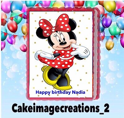 Minnie Mouse Birthday Cake frosting Image icing sheet Decoration 1/4 Sheet
