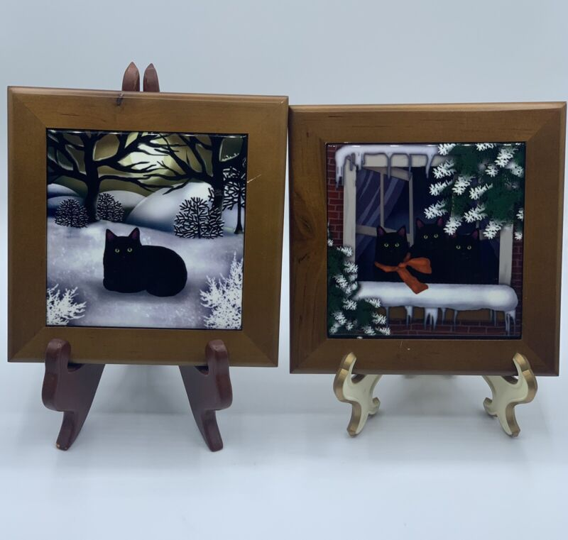 Winter Cat Wood Framed Orca Coatings Tile Picture Set Of Two
