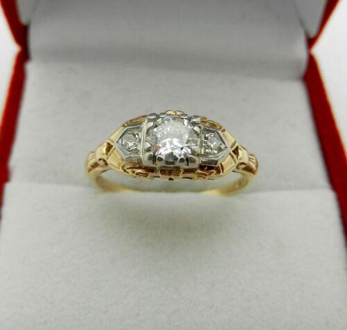 Antique Art Deco 14k Yellow Gold & Platinum Diamond 0.37 tcw Engagement Ring