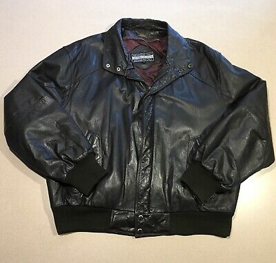 Vintage Mens MEMBERS ONLY Brown Leather Bomber Jacket MEDIUM to LARGE Cafe Racer