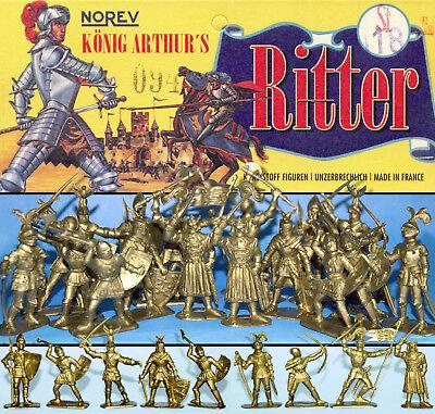 NOREV KÖNIG ARTHUR'S GOLD RITTER SET 18 FIG. BEUTEL PLASTIK FIGUREN 70er RARITÄT