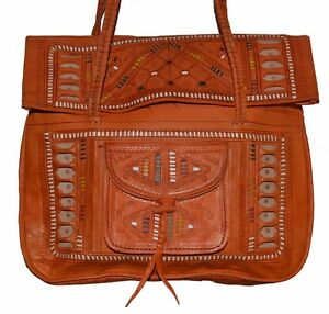 0288a90bec3c Leather Handbag Purse Moroccan Women Shopping Bag New Fashion Genuine Orange