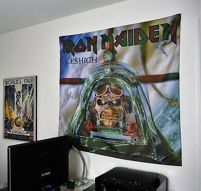 Iron Maiden Banners - IRON MAIDEN Aces High HUGE BANNER fabric poster tapestry flag cd album eddie