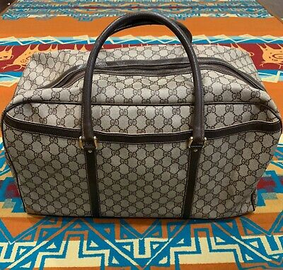 VTG GUCCI Duffle Gym Bag Brown Monogram Leather Travel Carry ON Supreme Web